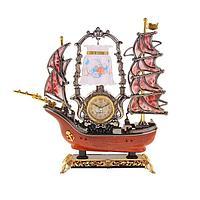 Часы светильник Кораблик коричневая корма 6 парусов, 34*34*8 см., фото 1