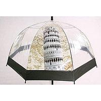 """Прозрачный женский зонт-трость полуавтомат """"Пизанская башня"""", фото 1"""