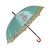 Женский зонт-трость полуавтомат, бирюзовый с перламутром, фото 1