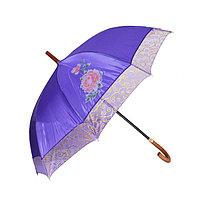 Женский зонт-трость полуавтомат, фиолетовый с перламутром, фото 1