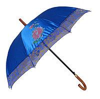 Женский зонт-трость полуавтомат, голубой с перламутром, фото 1