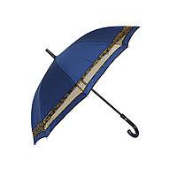 Женский зонт-трость синий с кантом, полуавтомат, фото 1