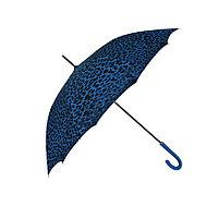 """Женский зонт-трость c принтом """"леопард"""", синий, полуавтомат"""