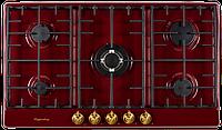 Варочная поверхность газовая Kuppersberg FV9TGRZ Bor бордовый/переключатели-бронза