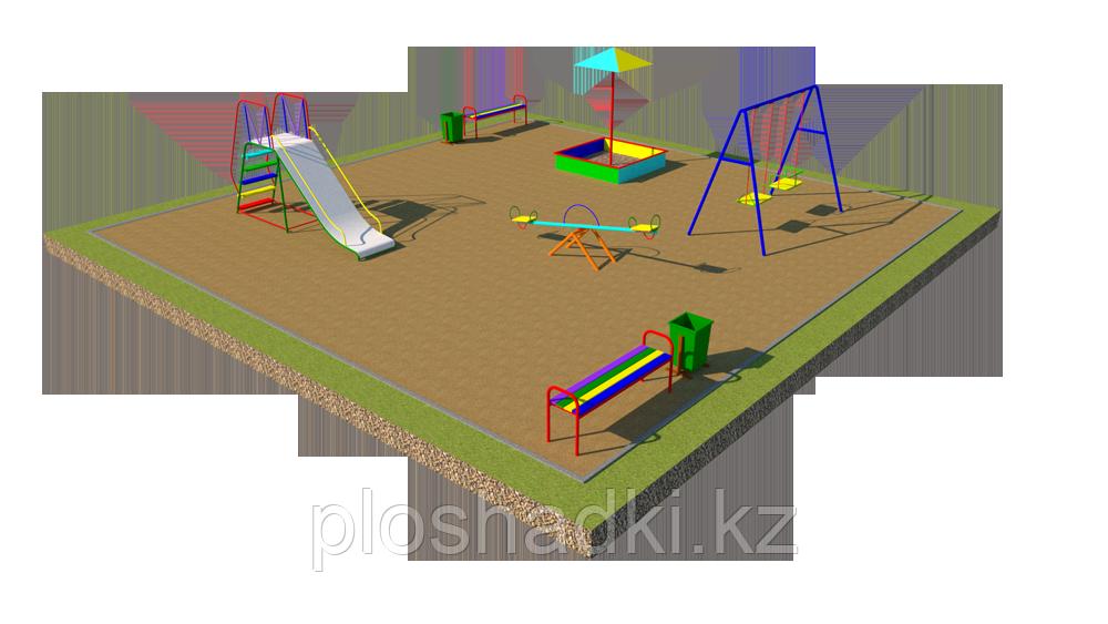 Дворовые площадки детские, горка, скамейки, песочница, качели подвесные, качели балансир