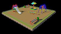 Дворовые площадки детские, горка, скамейки, песочница, качели подвесные, качели балансир, фото 1