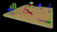 Дворовые площадки, турники, песочница, качели, качели балансир,брусья, фото 1