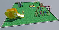 Дворовые площадки, качели, песочница, горка, скамейка, качеля балансир, фото 1