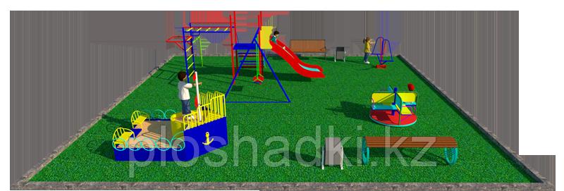 Комплекс детский игровой, с песочницей, горкой, шведской стенкой, с рукоходом, качелей