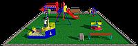Комплекс детский игровой, с песочницей, горкой, шведской стенкой, с рукоходом, качелей, фото 1