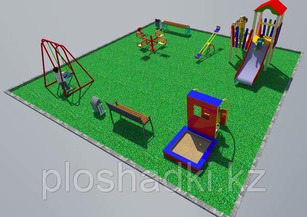 Дворовые площадки, качеля, песочница, горка с лестницей, качеля балансир, скамейки, урны