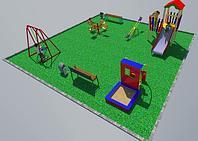 Дворовые площадки, качеля, песочница, горка с лестницей, качеля балансир, скамейки, урны, фото 1