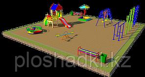 Площадка детская, песочница, карусель, качели, скамейки,, шведская стенка