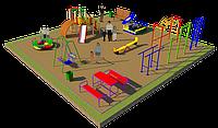 Площадка детская, карусель, качель балансир, рукоходы, шведская стенка, горка, песочница, фото 1