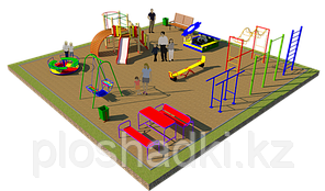 Площадка детская, карусель, качель балансир, рукоходы, шведская стенка, горка, песочница