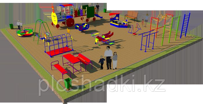 Площадка детская, песочница, качеля лодочка, рукоходы, лавочка с сидениями, карусель, шведская стенка