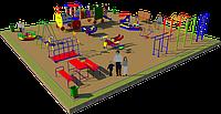 Площадка детская, песочница, качеля лодочка, рукоходы, лавочка с сидениями, карусель, шведская стенка, фото 1