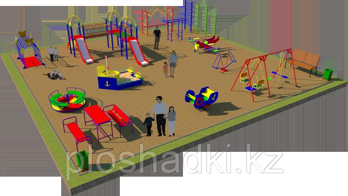 Площадка детская, песочница, качеля лодочка, качеля балансир, детский городок с горками, скамейками, карусель