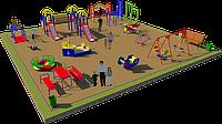 Площадка детская, песочница, качеля лодочка, качеля балансир, детский городок с горками, скамейками, карусель, фото 1
