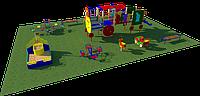 Площадка детская, песочница, качели, качели балансиры, игровой комплекс скамейки, фото 1