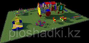 Площадка детская, песочница, качели, качели балансиры, игровой комплекс скамейки