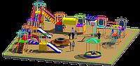 Площадка детская, песочница, детский городок с качелями горками рукоходами, скамейка, урны, фото 1