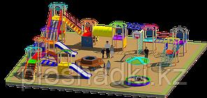 Площадка детская, песочница, детский городок с качелями горками рукоходами, скамейка, урны