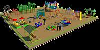 Детская площадка песочный городок, воркаут, качеля на пружине, рукоходы, горки, качели балансиры, беседка, фото 1