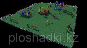 Детская площадка - песочный городок, качеля на пружине, рукоходы, горки, качели балансиры
