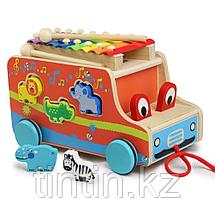Деревянный автобус каталка-сортер с ксилофоном 3 в 1, фото 2