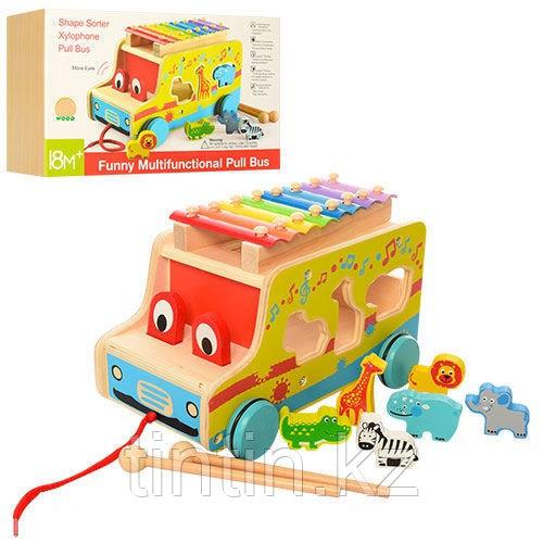 Деревянный автобус каталка-сортер с ксилофоном 3 в 1