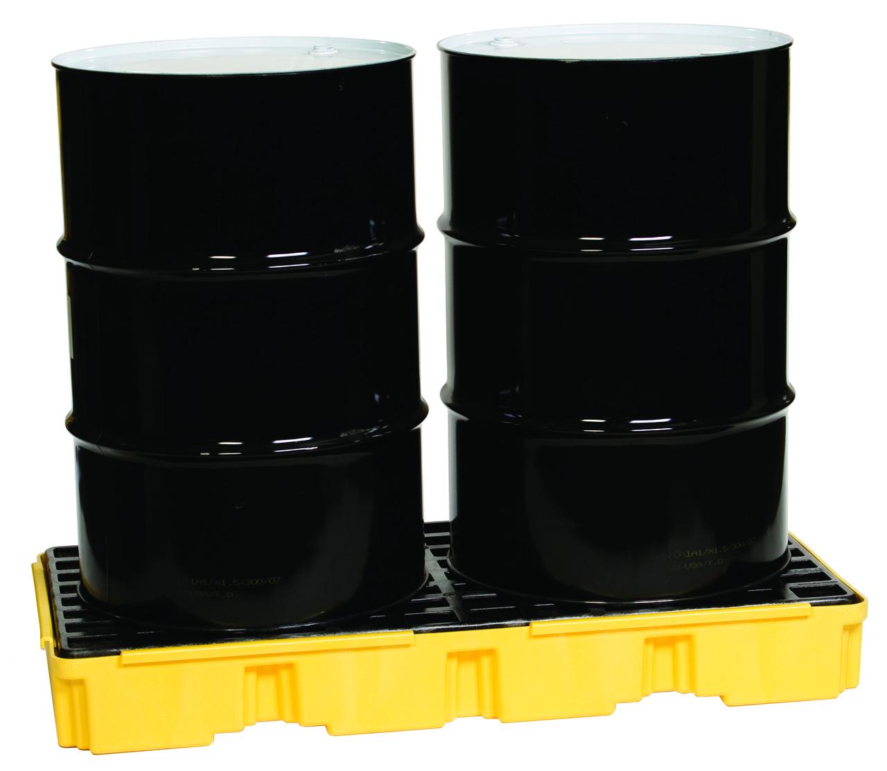 Поддон пластиковый для предотвращения проливов масла на 2 бочки, низкий профиль