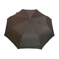 Полуавтоматический складной женский зонт коричневый, с чехлом