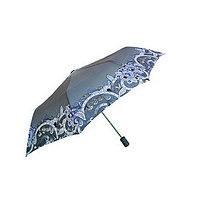 Полуавтоматический складной женский зонт c цветочным принтом, серый