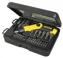 """Отвертка Stanley """"Pistol Grip Ratchet"""" с храповым механизмом в наборе с 20-тью вставками (22 предмета)"""