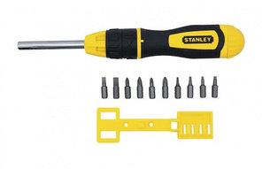 """Отвертка Stanley """"Multibit"""" с храповым механизмом с 10-тью сменными вставками"""