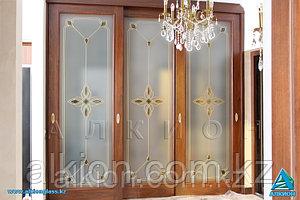 Раздвижные двери с витражами с фьюзинг-декорами