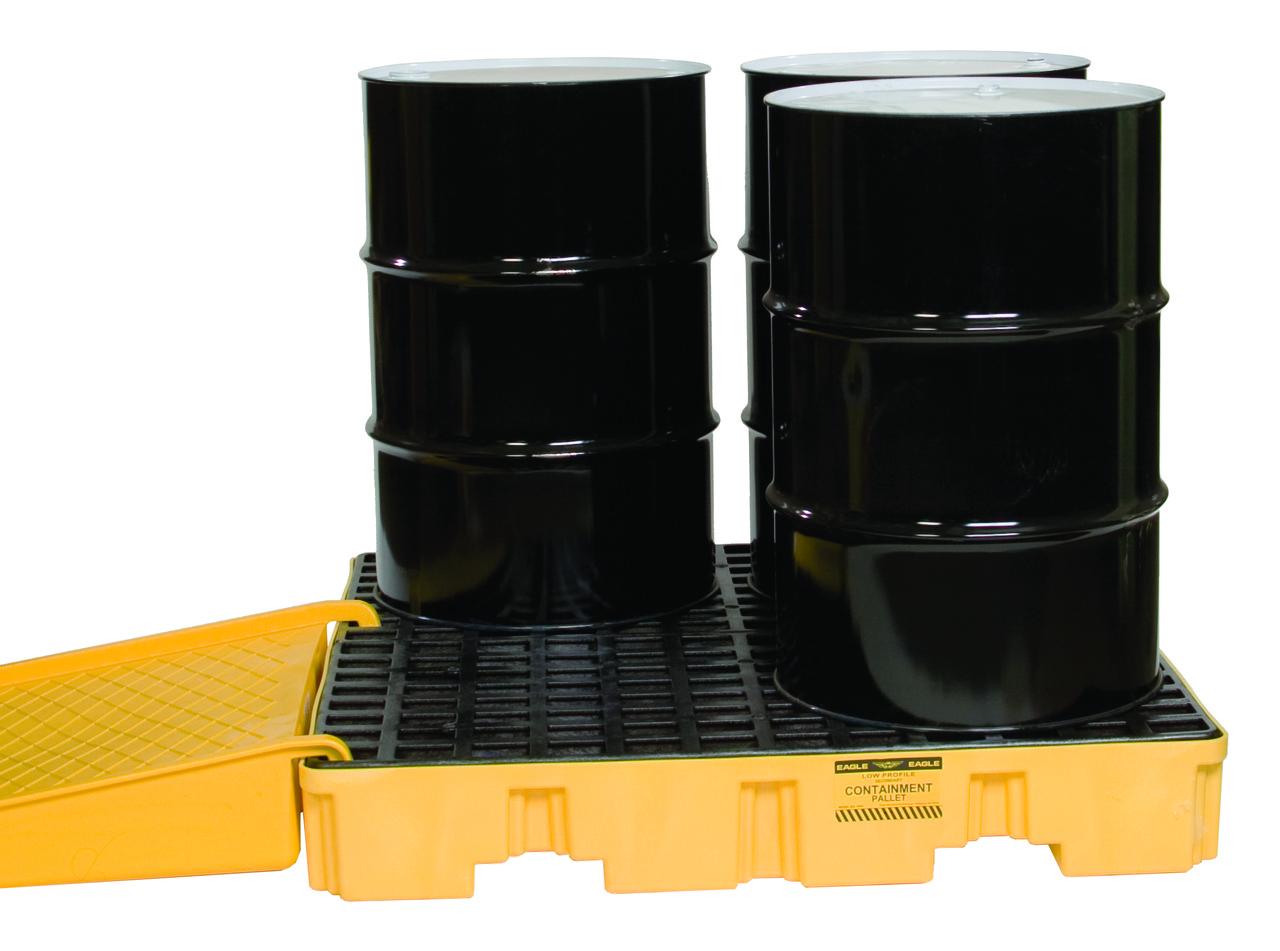 Поддон пластиковый для предотвращения проливов масла на 4 бочки, низкий профиль