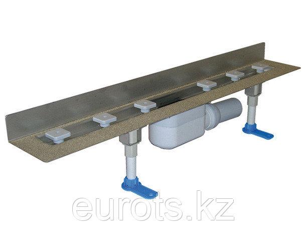 Корпус плоского душевого лотка с min высотой монтажа из стали для пристенного монтажа, ВЫСОТА МОНТАЖА 68 ММ!