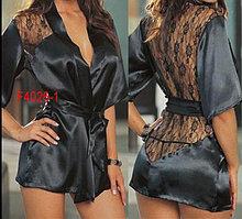 Черный халат с кружевным вырезом ниже попы-Сексуальный халат