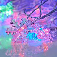 """Гирлянда """"Метраж"""" с насадкой """"Снежинки малые"""" 5 м, нить силикон, LED-20-220V, моргает, МУЛЬТИ, фото 1"""
