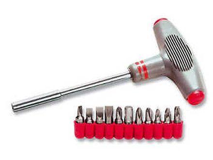 Отвертка с Т-образной эргономичной ручкой и набором бит, 11 шт. CrV//MATRIX