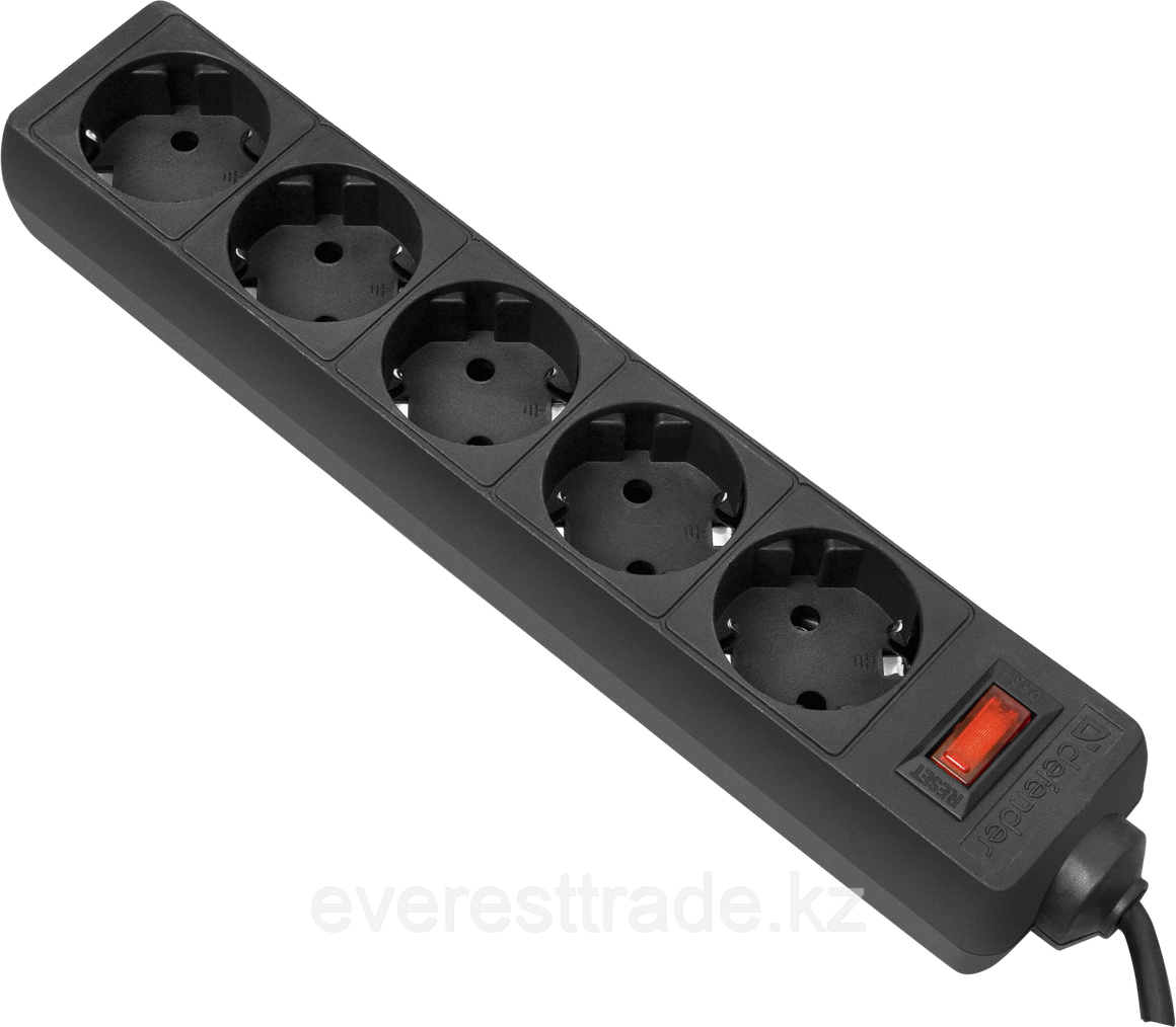 Сетевой фильтр Defender ES 3 черный, 5 розеток