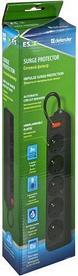 Сетевой фильтр Defender ES  1,8м, черный, 5 розеток