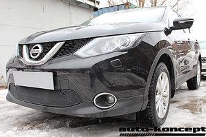 Защита радиатора Nissan Qashqai 2014- black с парктроником PREMIUM