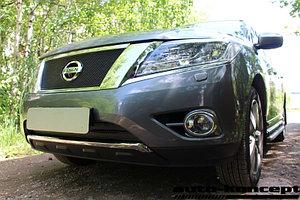 Защита радиатора Nissan Pathfinder 2014- black верх PREMIUM