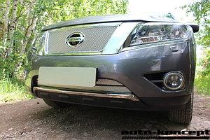 Защита радиатора Nissan Pathfinder 2014- chrome верх PREMIUM