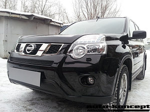 Защита радиатора Nissan X-Trail 2011-2014 black середина PREMIUM
