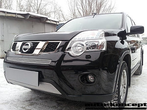 Защита радиатора Nissan X-Trail 2011-2014 chrome середина PREMIUM