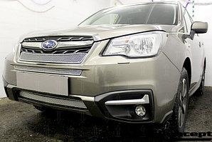 Защита радиатора Subaru Forester IV 2016- chrome верх PREMIUM